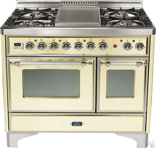 Ilve Majestic Collection UMD100SDMPAX 40 Inch Freestanding Dual-Fuel Range with 4 Sealed Burners, 3.8 cu. ft. Capacity, French Cooktop, Dual Convection Ovens, 15,500 BTU Triple-Ring Burner and Rotisserie: Antique White, Chrome Trim UMD100SDMPAX