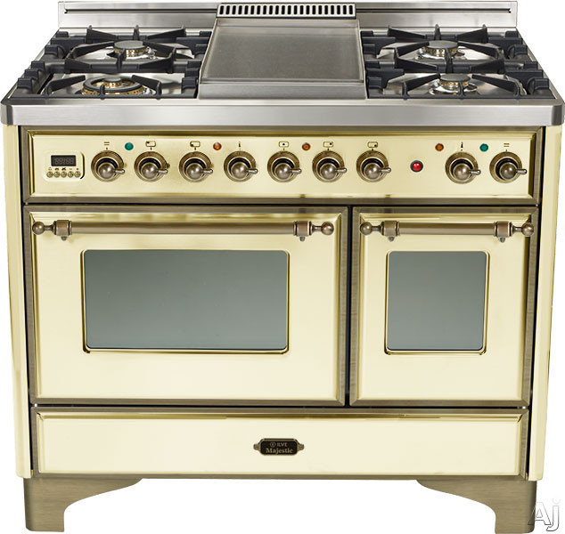 Ilve Majestic Collection UMD100SDMPAY 40 Inch Freestanding Dual-Fuel Range with 4 Sealed Burners, 3.8 cu. ft. Capacity, French Cooktop, Dual Convection Ovens, 15,500 BTU Triple-Ring Burner and Rotisserie: Antique White, Oil Rubbed Bronze UMD100SDMPAY