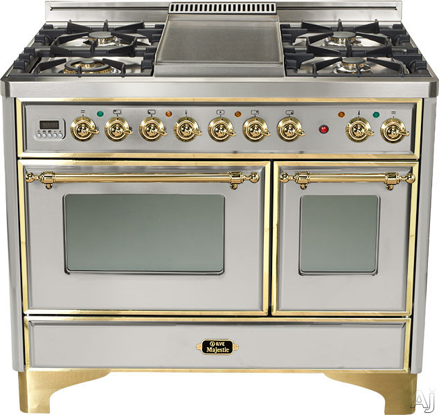 Ilve Majestic Collection UMD100SDMPI 40 Inch Freestanding Dual-Fuel Range with 4 Sealed Burners, 3.8 cu. ft. Capacity, French Cooktop, Dual Convection Ovens, 15,500 BTU Triple-Ring Burner and Rotisserie: Stainless Steel, Brass Trim UMD100SDMPI
