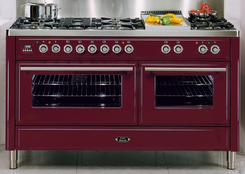 Ilve Majestic Techno Collection UMT150SDMP 60 Inch Freestanding Dual-Fuel Range with 6 Sealed Burners, 5.9 cu. ft. Capacity, French Cooktop, Two 15,500 BTU Triple Ring Burners, Dual Convection Ovens and Rotisserie UMT150SDMP