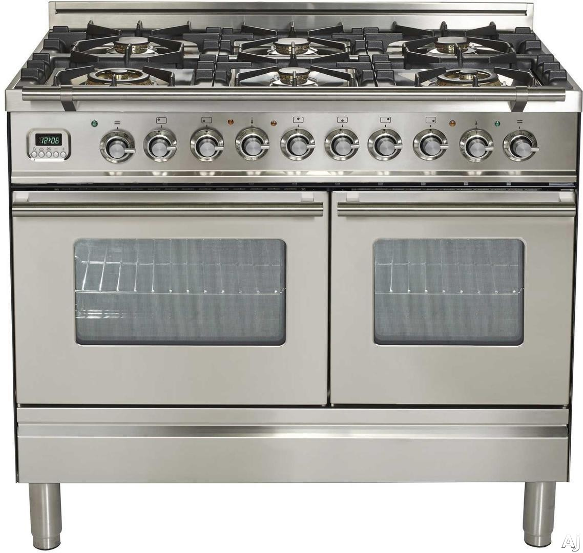 Ilve Proline Series UPDW1006DMPI 40 Inch Dual Fuel Double Oven Range With Digital Clock, Timer, Electronic Ignition, Warming Drawer, 6 Burners,Stainless Steel