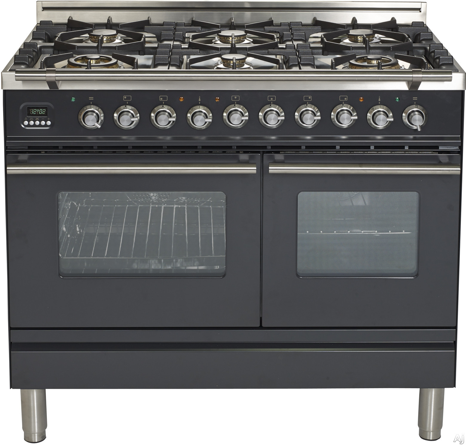 Ilve Proline Series UPDW1006DMPM 40 Inch Dual Fuel Double Oven Range With Digital Clock, Timer, Electronic Ignition, Warming Drawer, 6 Burners,Stainless Steel