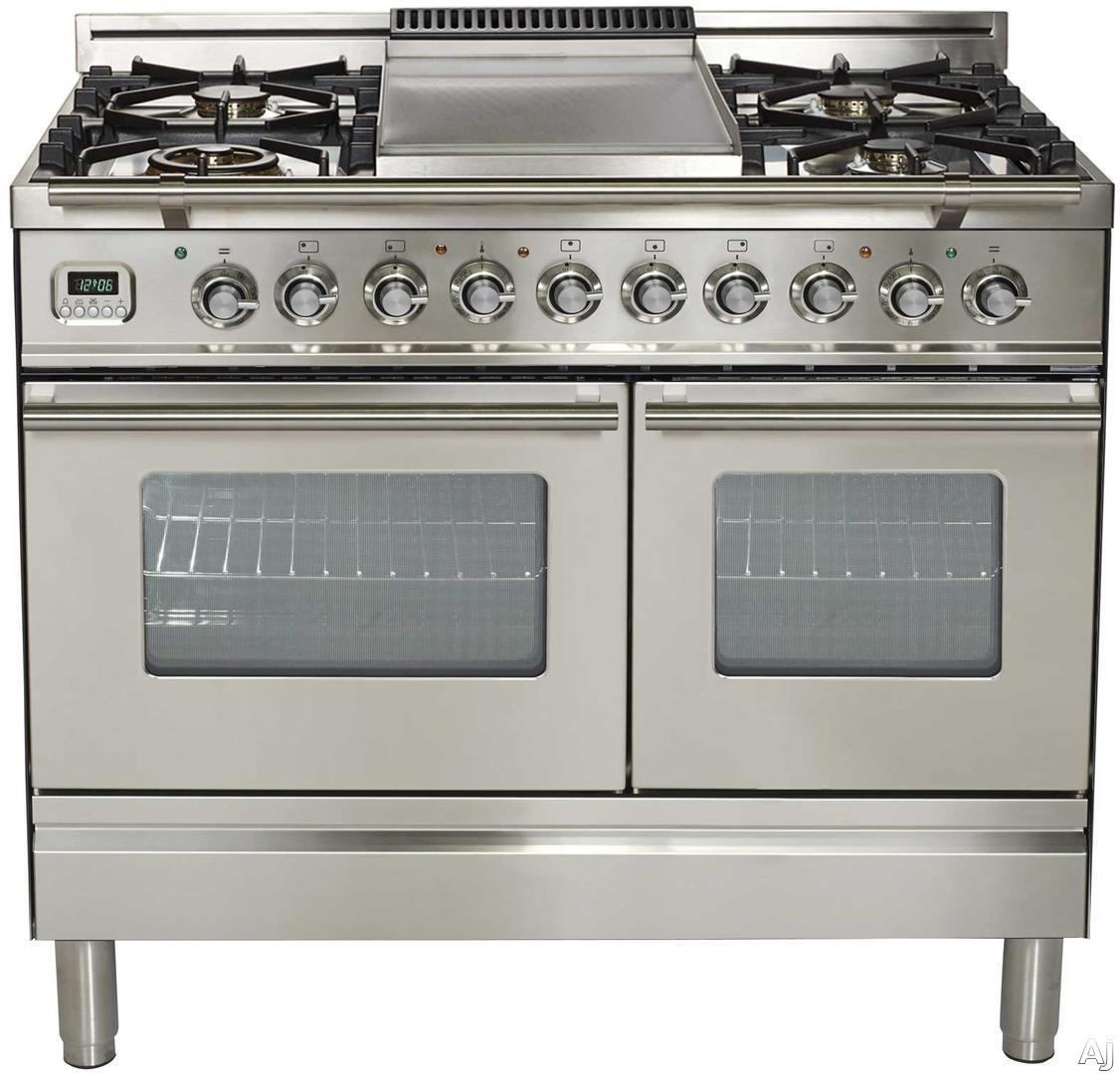 Ilve Proline Series UPDW100FDMPI 40 Inch Dual Fuel Double Oven Range With Digital Clock, Timer, Electronic Ignition, Warming Drawer, 5 Burners, Griddle and Rotisserie: Stainless Steel, 5 Burners