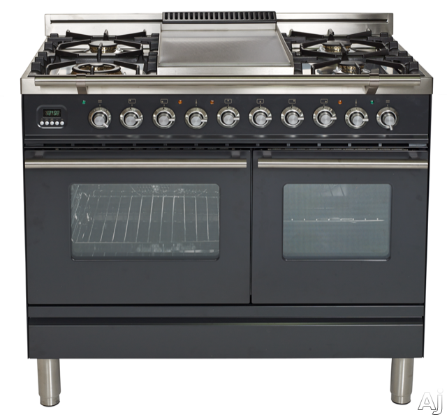 Ilve Proline Series UPDW100FDMPM 40 Inch Dual Fuel Double Oven Range With Digital Clock, Timer, Electronic Ignition, Warming Drawer, 5 Burners, Griddle and Rotisserie: Matte Graphite