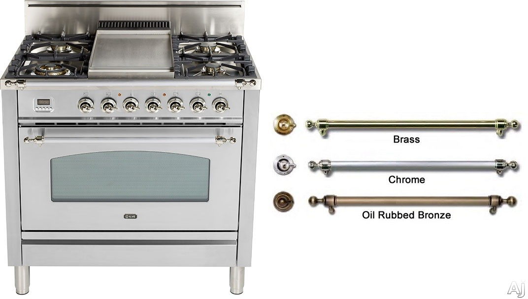 Ilve Nostalgie Collection UPN90FDVGGIX 36 Inch Professional-Style Gas Range with 4 Semi-Sealed Burners, Griddle, Convection, Rotisserie, Heat-Insulated Door and Warming Drawer
