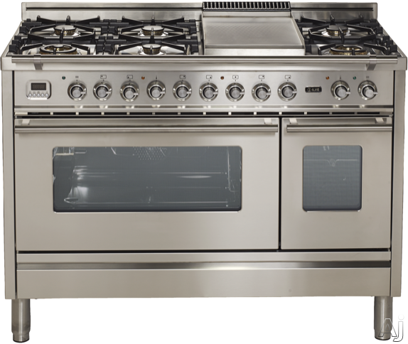 Ilve Proline Series UPW120FDMPI 48 Inch Dual Fuel Range with 7 Burners, Griddle, Digital Clock, Timer, Convection, Preheat Indicator Lamp, Rotisserie and 4.99 Cu. Ft. Capacity: Stainless Steel