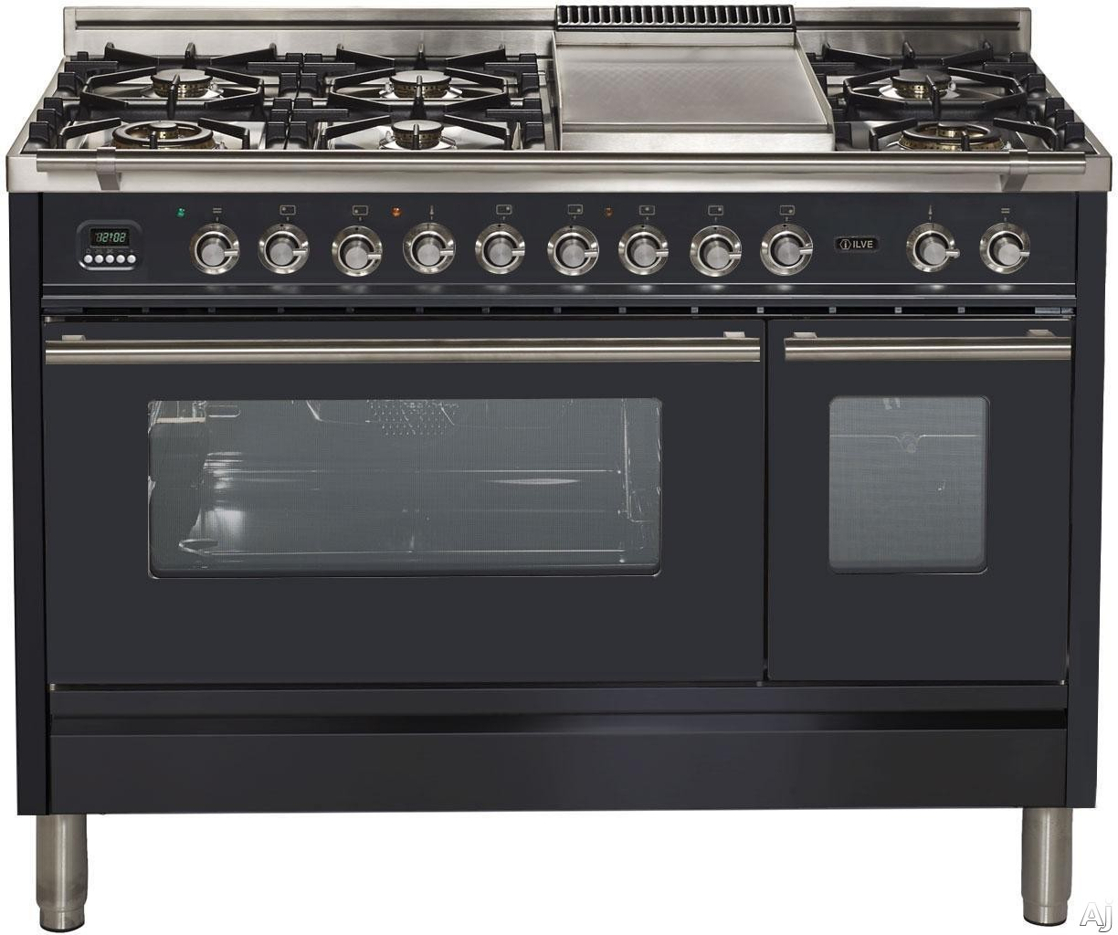 Ilve Proline Series UPW120FDMPM 48 Inch Dual Fuel Range with 7 Burners, Griddle, Digital Clock, Timer, Convection, Preheat Indicator Lamp, Rotisserie and 4.99 Cu. Ft. Capacity: Matte Graphite
