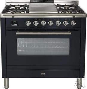 Ilve Proline Series UPW90FDMPM 36 Inch Dual Fuel Range With 5 Burners, Digital Clock and Timer, Warming Drawer, Electronic Ignition, Convection, Cast Iron Grates, Rotisserie and Griddle: Matte Graphite UPW90FDMPM