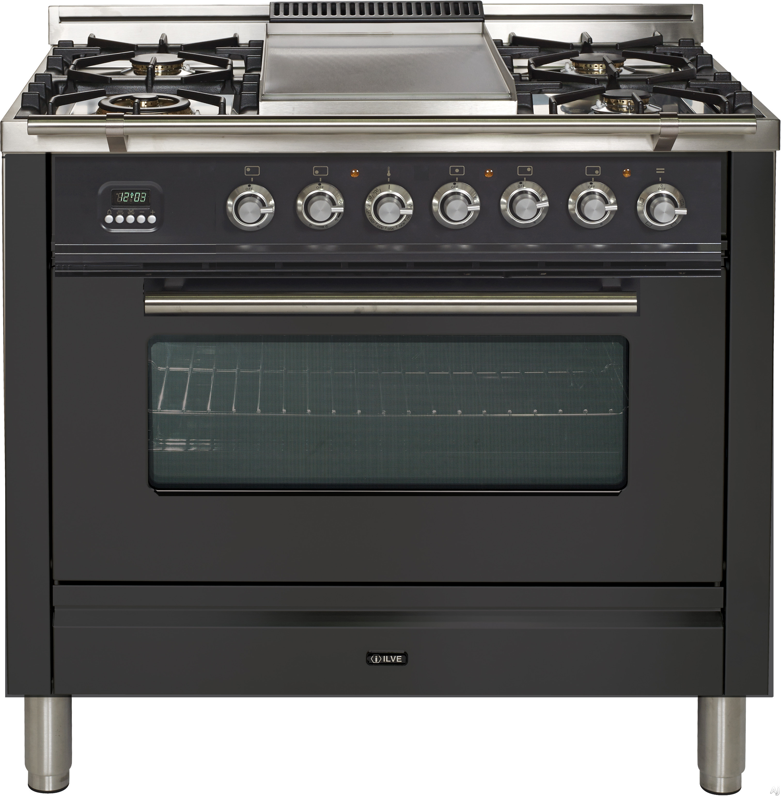 Ilve Proline Series UPDW90FDMPM 36 Inch Dual Fuel Double Range With Digital Clock and Timer, Warming Drawer, Cast Iron Grates, Convection, Rotisserie, Multi Function and Griddl: Matte Graphite UPDW90FDMPM