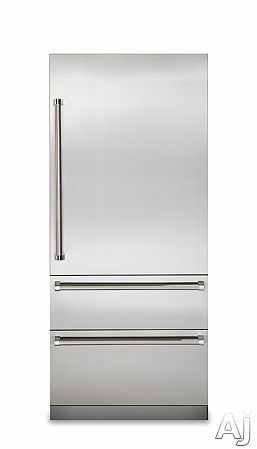 Image of Viking Professional 7 Series VIRERADWRH389 4 Piece Kitchen Appliances Package with Bottom Freezer Refrigerator, Gas Range and Dishwasher in Stainless Steel