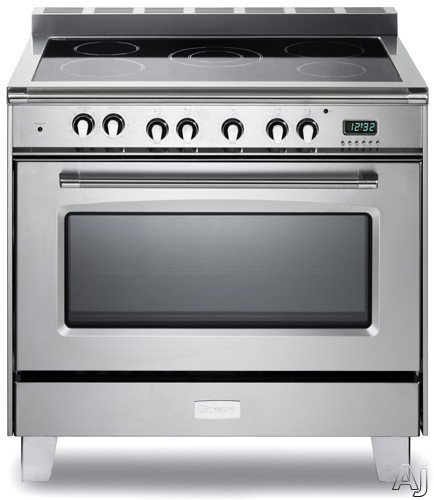 Verona Classic Series VCLFSEE365 36 Inch Freestanding Electric Range with 5 Cooktop Heat Zones 40 cu ft Convection Oven 1 Gliding Rack 1 Standard Rack Digital Clock Timer and Lower Storage Compartment