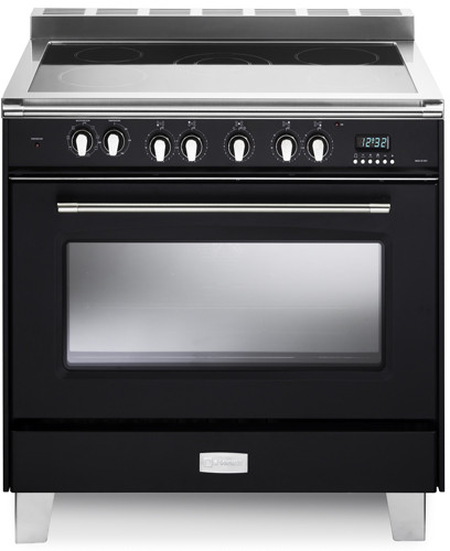 Verona Classic Series VCLFSEE365E 36 Inch Freestanding Electric Range with 5 Cooktop Heat Zones 40 cu ft Convection Oven 1 Gliding Rack 1 Standard Rack Digital Clock Timer and Lower Storage Compartment Black