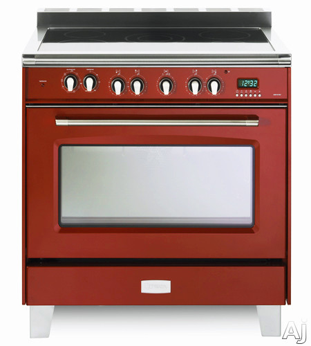 Verona Classic Series VCLFSEE365R 36 Inch Freestanding Electric Range with 5 Cooktop Heat Zones 40 cu ft Convection Oven 1 Gliding Rack 1 Standard Rack Digital Clock Timer and Lower Storage Compartment Gloss Red
