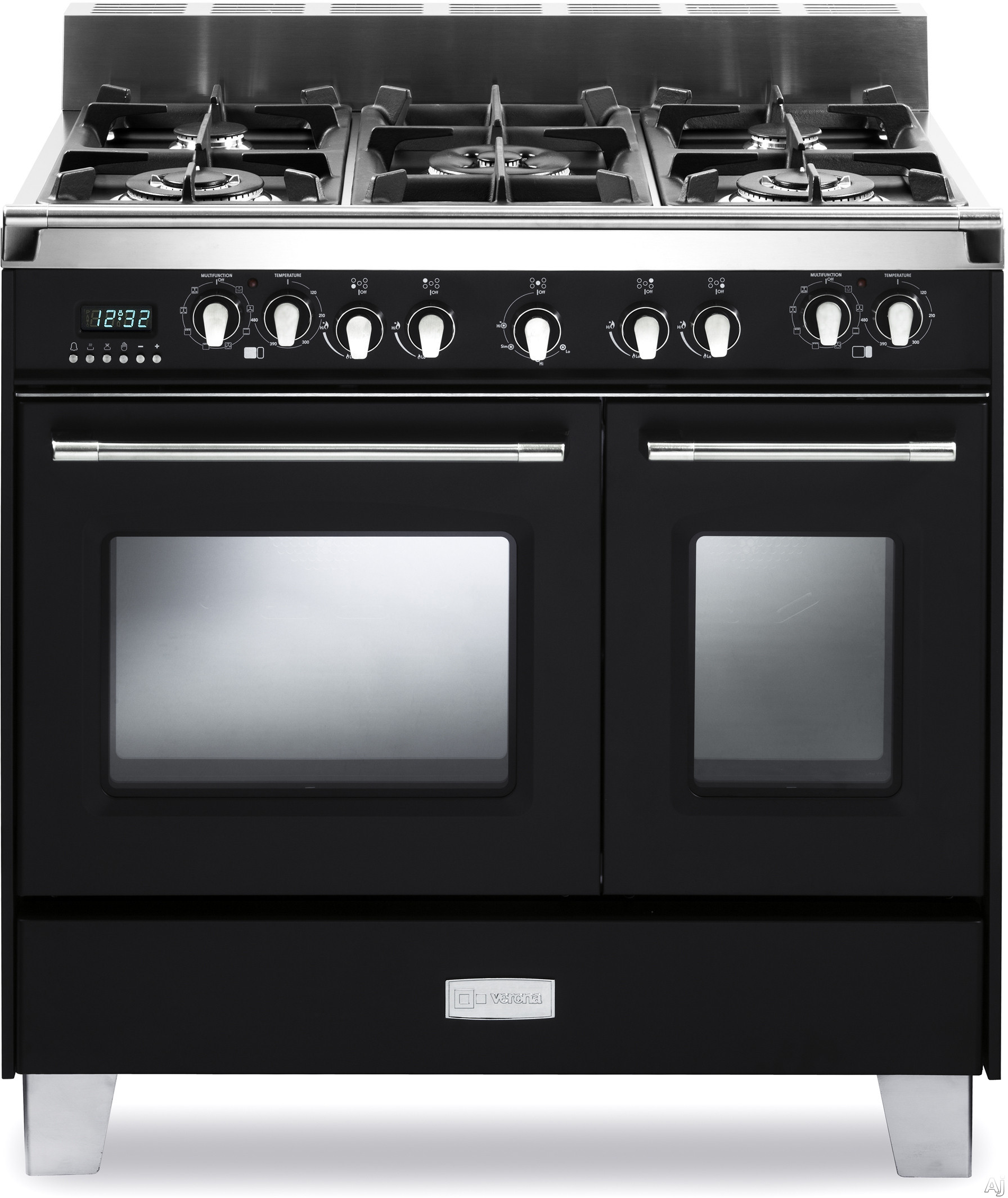 Verona Classic Series VCLFSGE365DE 36 Inch Pro Style Dual Fuel Range with 5 Sealed Burners 24 cu ft European Convection Main Oven Manual Clean Digital Clock Timer Glide Rack and Storage Drawer Matte Black