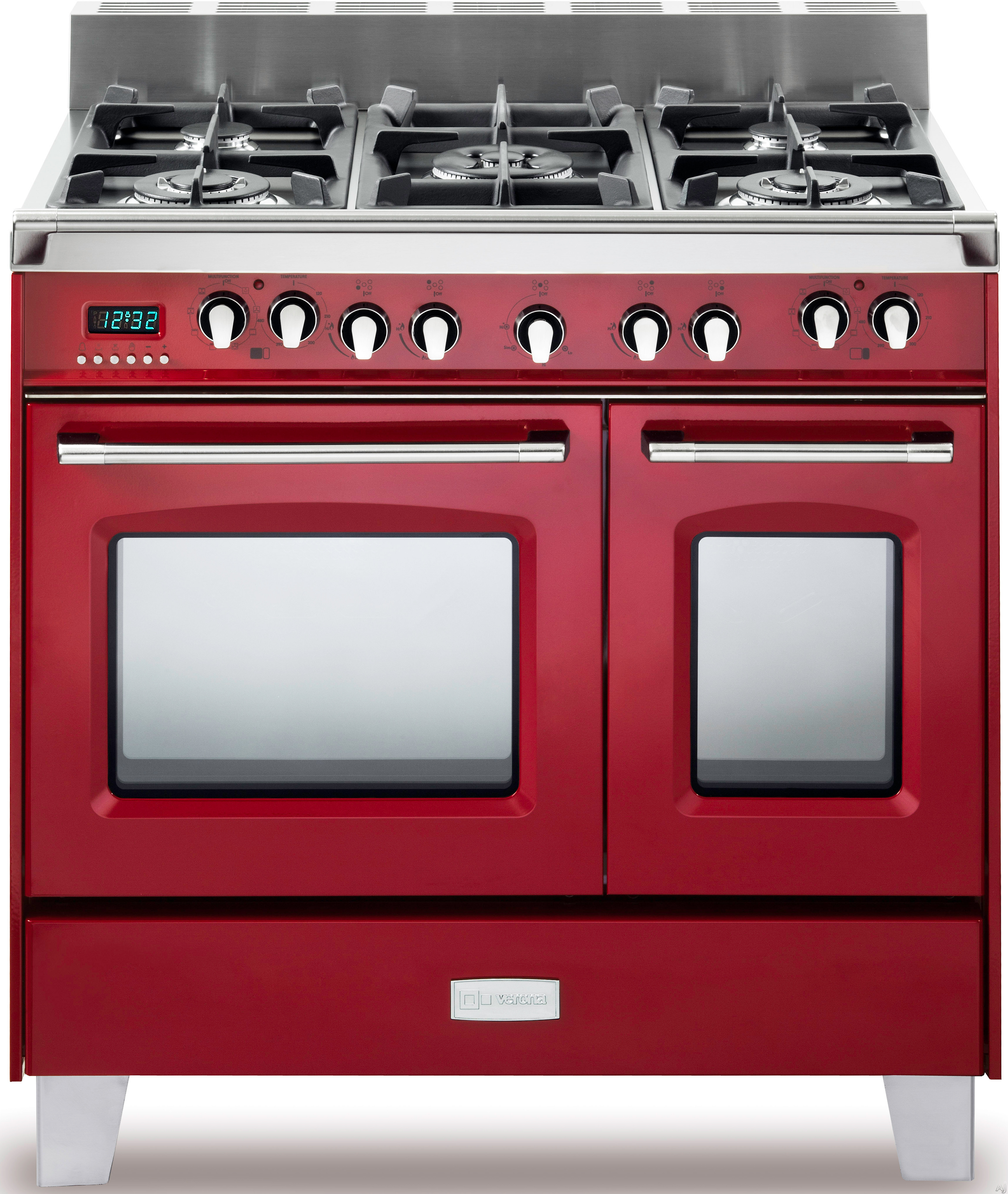Verona Classic Series VCLFSGE365DR 36 Inch Pro Style Dual Fuel Range with 5 Sealed Burners 24 cu ft European Convection Main Oven Manual Clean Digital Clock Timer Glide Rack and Storage Drawer Gloss Red