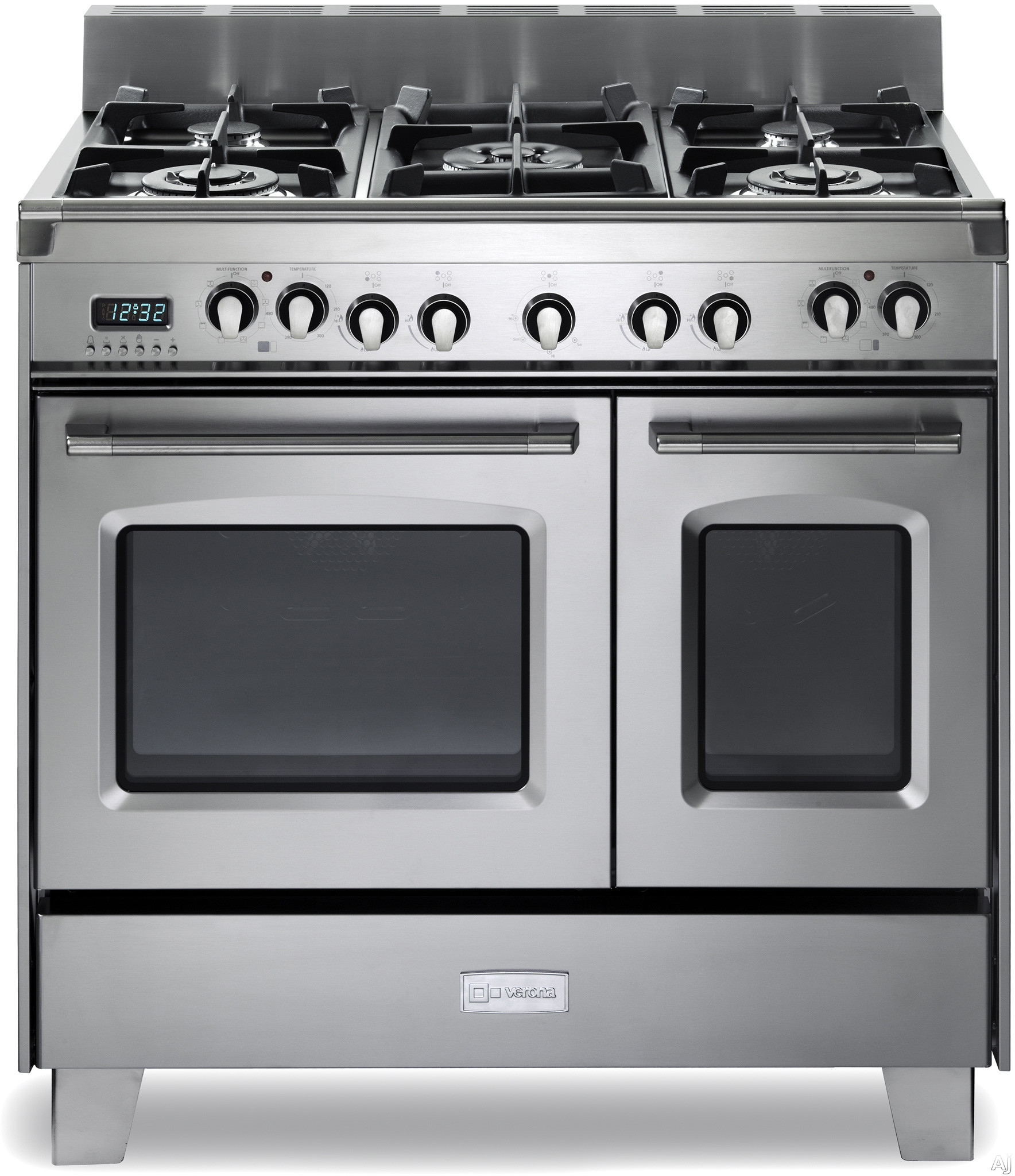Verona Classic Series VCLFSGE365D 36 Inch Pro Style Dual Fuel Range with 5 Sealed Burners 24 cu ft European Convection Main Oven Manual Clean Digital Clock Timer Glide Rack and Storage Drawer