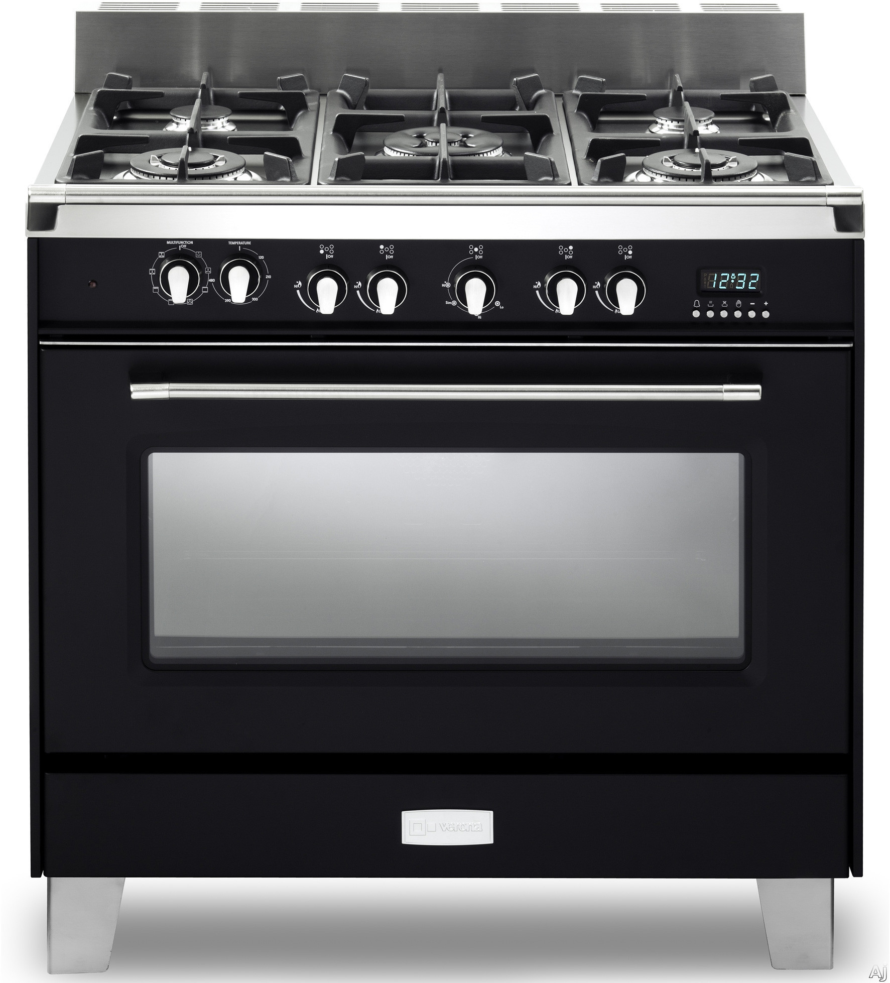 Verona Classic Series VCLFSGE365E 36 Inch Pro Style Dual Fuel Range with 5 Sealed Burners 40 cu ft European Convection Oven Manual Clean Digital Clock Timer Glide Rack and Storage Drawer Matte Black