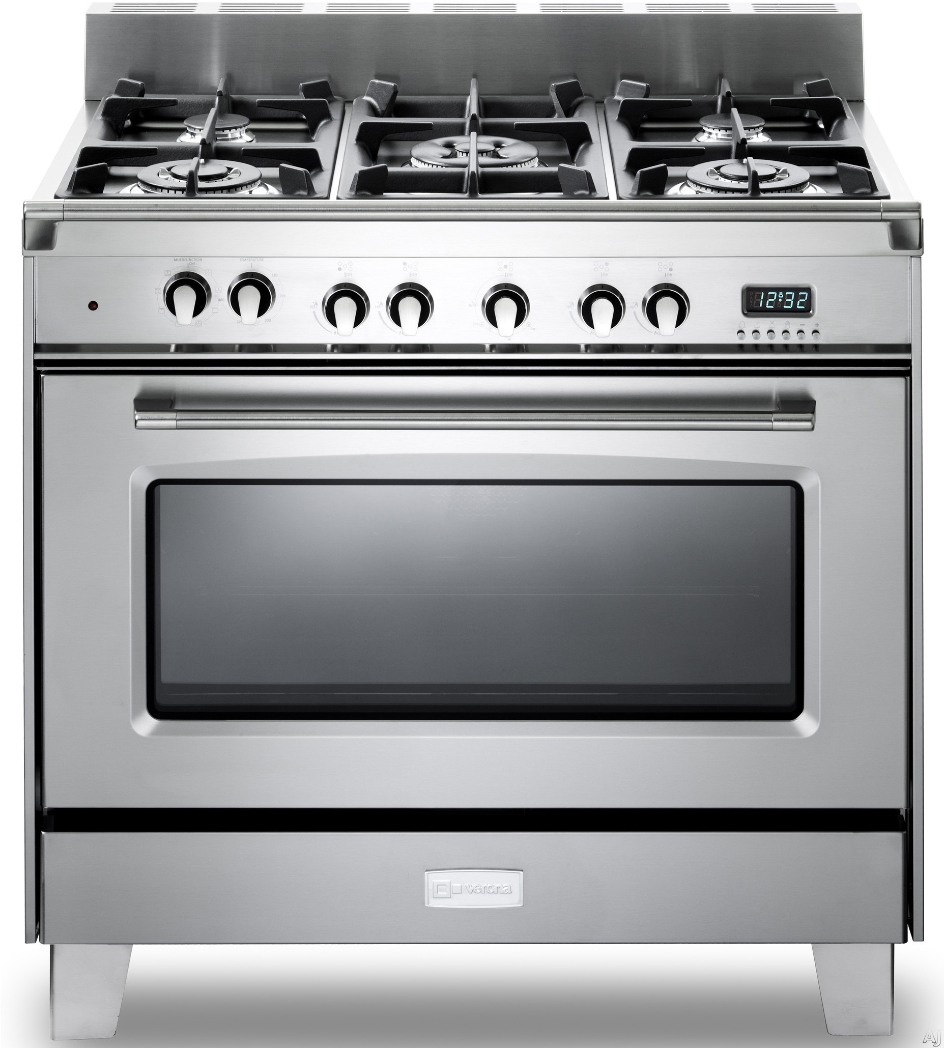 Verona Classic Series VCLFSGE365 36 Inch Pro Style Dual Fuel Range with 5 Sealed Burners 40 cu ft European Convection Oven Manual Clean Digital Clock Timer Glide Rack and Storage Drawer