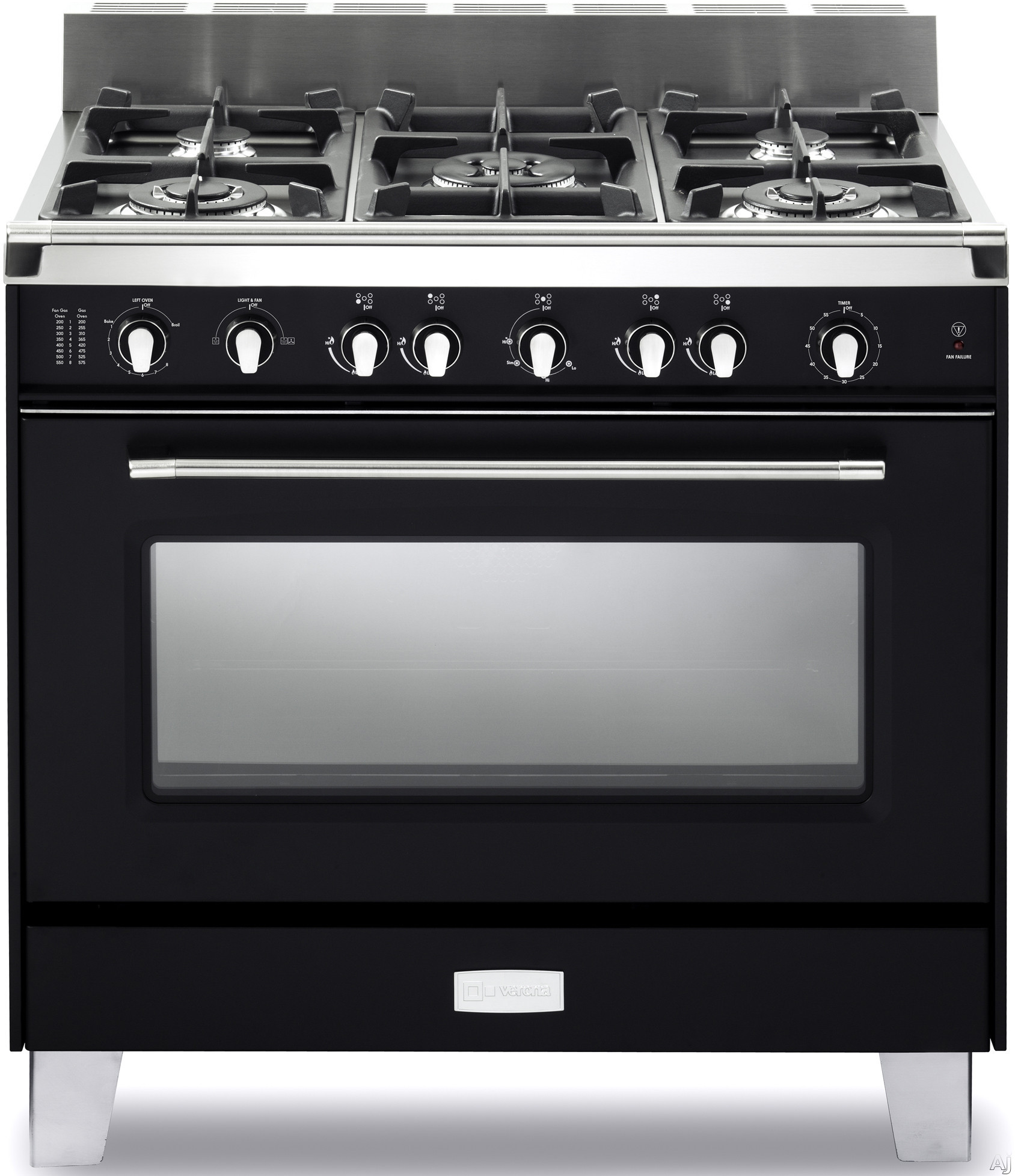 Verona Classic Series VCLFSGG365DE 36 Inch Pro-Style Gas Range with 4 cu. ft. Total Oven Capacity, 5 Sealed Burners, Convection Main Oven, Infrared Broiler, Bell Timer, Glide Rack and Storage Drawer: