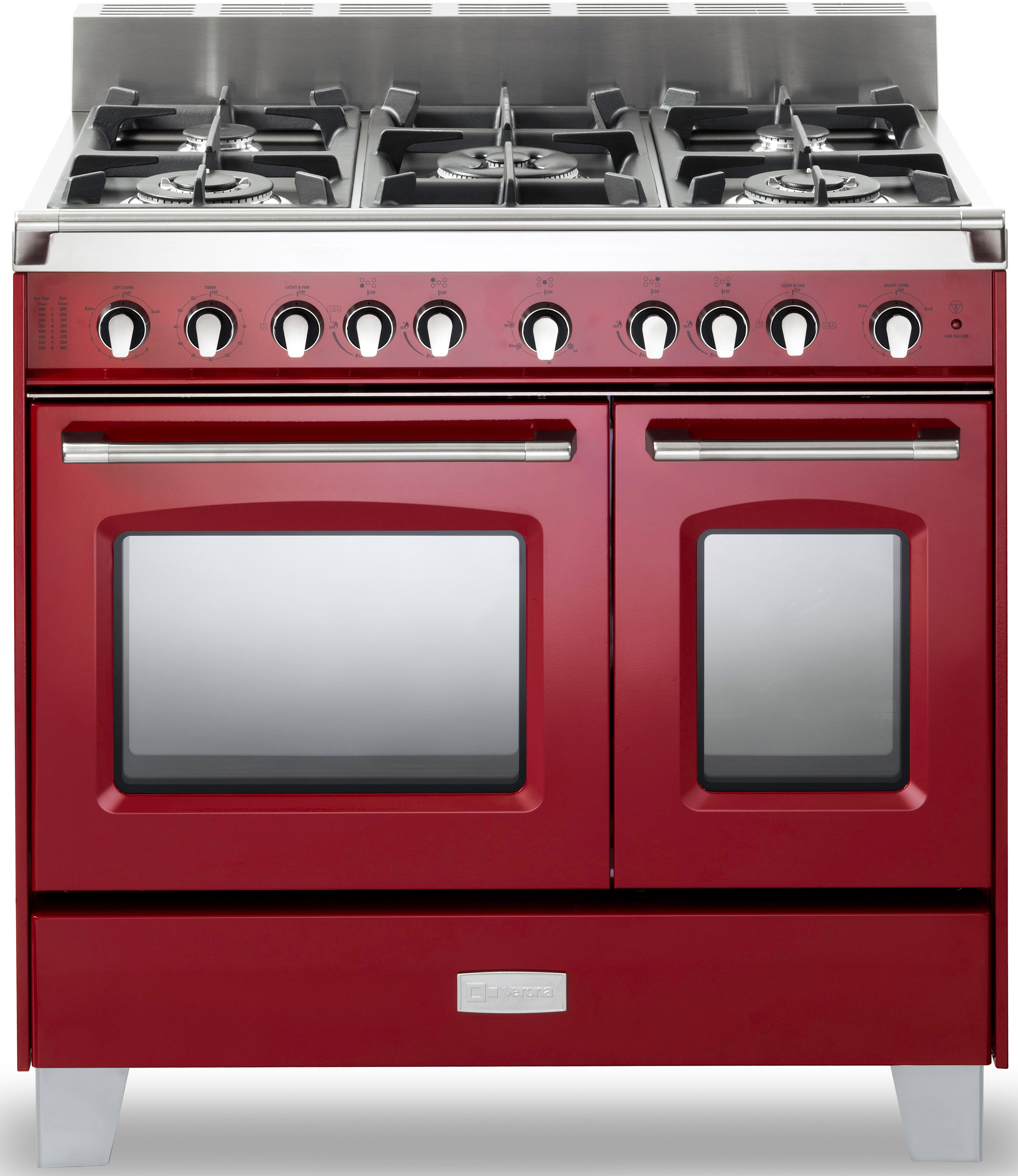 Verona Classic Series VCLFSGG365DR 36 Inch Pro-Style Gas Range with 4 cu. ft. Total Oven Capacity, 5 Sealed Burners, Convection Main Oven, Infrared Broiler, Bell Timer, Glide Rack and Storage Drawer: