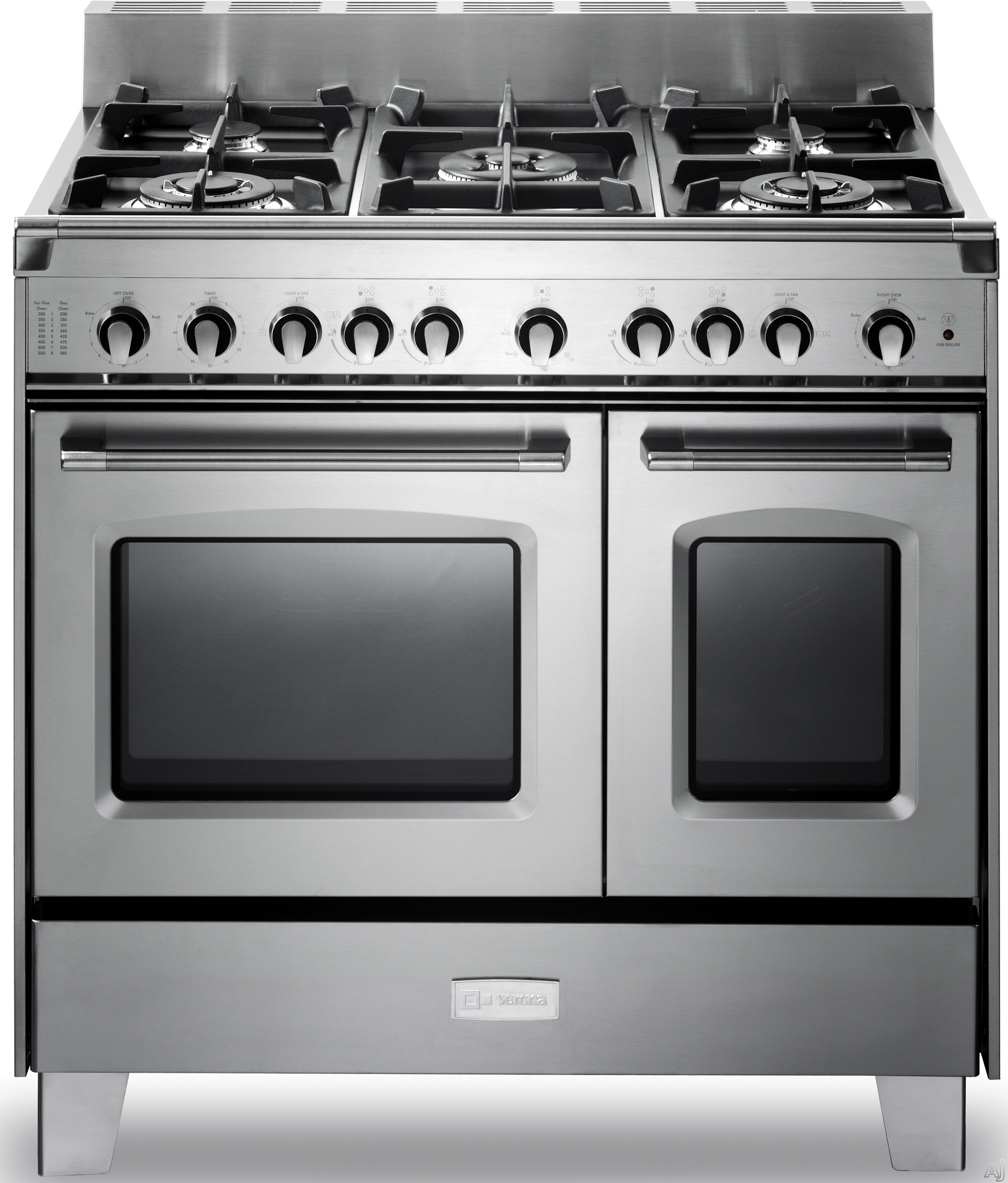 Verona Classic Series VCLFSGG365DSS 36 Inch Pro-Style Gas Range with 4 cu. ft. Total Oven Capacity, 5 Sealed Burners, Convection Main Oven, Infrared Broiler, Bell Timer, Glide Rack and Storage Drawer: