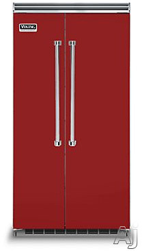 Viking Professional 5 Series VCSB5423AR 42 Inch Built-in Side by Side Refrigerator with 25.3 cu. ft. Capacity, Spillproof Adjustable Glass Shelves, Adjustable Aluminum Door Bins, 2 Humidity Zones, 2 Deli Drawers, Odor Eliminator Evaporator, Air Purifier, Sabbath Mode and ENERGY STAR: Apple Red