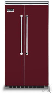 Viking Professional 5 Series VCSB5423BU 42 Inch Built-in Side by Side Refrigerator with 25.3 cu. ft. Capacity, Spillproof Adjustable Glass Shelves, Adjustable Aluminum Door Bins, 2 Humidity Zones, 2 Deli Drawers, Odor Eliminator Evaporator, Air Purifier, Sabbath Mode and ENERGY STAR: Burgundy