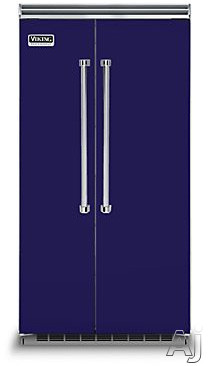 Viking Professional 5 Series VCSB5423CB 42 Inch Built-in Side by Side Refrigerator with 25.3 cu. ft. Capacity, Spillproof Adjustable Glass Shelves, Adjustable Aluminum Door Bins, 2 Humidity Zones, 2 Deli Drawers, Odor Eliminator Evaporator, Air Purifier, Sabbath Mode and ENERGY STAR: Cobalt Blu