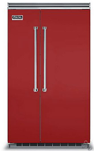 Viking Professional 5 Series VCSB5483AR 48 Inch Built-in Side by Side Refrigerator with Plasmacluster Air Purifier, ProChill Management, ENERGY STAR, 29.1 cu. ft. Capacity, 5 Adjustable Glass Shelves, 7 Door Bins, Adjustable Humidity Drawers and Sabbath Mode: Apple Red