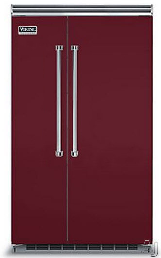 Viking Professional 5 Series VCSB5483BU 48 Inch Built-in Side by Side Refrigerator with Plasmacluster Air Purifier, ProChill Management, ENERGY STAR, 29.1 cu. ft. Capacity, 5 Adjustable Glass Shelves, 7 Door Bins, Adjustable Humidity Drawers and Sabbath Mode: Burgundy