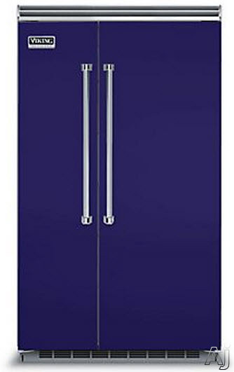 Viking Professional 5 Series VCSB5483CB 48 Inch Built-in Side by Side Refrigerator with Plasmacluster Air Purifier, ProChill Management, ENERGY STAR, 29.1 cu. ft. Capacity, 5 Adjustable Glass Shelves, 7 Door Bins, Adjustable Humidity Drawers and Sabbath Mode: Cobalt Blue