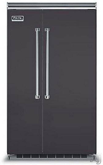 Viking Professional 5 Series VCSB5483GG 48 Inch Built-in Side by Side Refrigerator with Plasmacluster Air Purifier, ProChill Management, ENERGY STAR, 29.1 cu. ft. Capacity, 5 Adjustable Glass Shelves, 7 Door Bins, Adjustable Humidity Drawers and Sabbath Mode: Graphite Gray