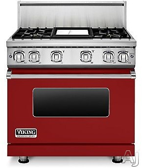 Viking Professional 7 Series VGR73614GAR 36 Inch Gas Range with Convection, ViChrome Griddle, Simmer Burners, 5.1 cu. ft. Oven, 4 Sealed Burners, Star-K Certified, Easy Clean Porcelain Interior and Dishwasher-Safe Knobs, Grates and Burner Caps: Apple Red