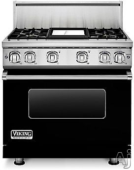 Viking Professional 7 Series VGR73614GBK 36 Inch Gas Range with Convection, ViChrome Griddle, Simmer Burners, 5.1 cu. ft. Oven, 4 Sealed Burners, Star-K Certified, Easy Clean Porcelain Interior and Dishwasher-Safe Knobs, Grates and Burner Caps: Black, Na