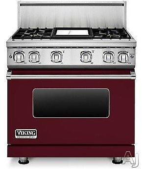 Viking Professional 7 Series VGR73614GBU 36 Inch Gas Range with Convection, ViChrome Griddle, Simmer Burners, 5.1 cu. ft. Oven, 4 Sealed Burners, Star-K Certified, Easy Clean Porcelain Interior and Dishwasher-Safe Knobs, Grates and Burner Caps: Burgundy,