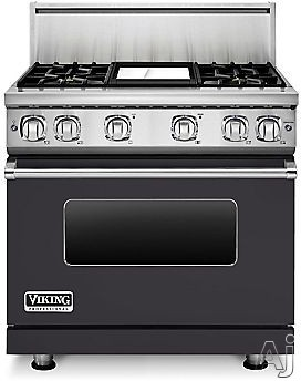 Viking Professional 7 Series VGR73614GGG 36 Inch Gas Range with Convection, ViChrome Griddle, Simmer Burners, 5.1 cu. ft. Oven, 4 Sealed Burners, Star-K Certified, Easy Clean Porcelain Interior and Dishwasher-Safe Knobs, Grates and Burner Caps: Graphite
