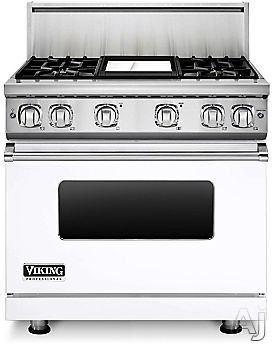 Viking Professional 7 Series VGR73614GWH 36 Inch Gas Range with Convection, ViChrome Griddle, Simmer Burners, 5.1 cu. ft. Oven, 4 Sealed Burners, Star-K Certified, Easy Clean Porcelain Interior and Dishwasher-Safe Knobs, Grates and Burner Caps: White, Na