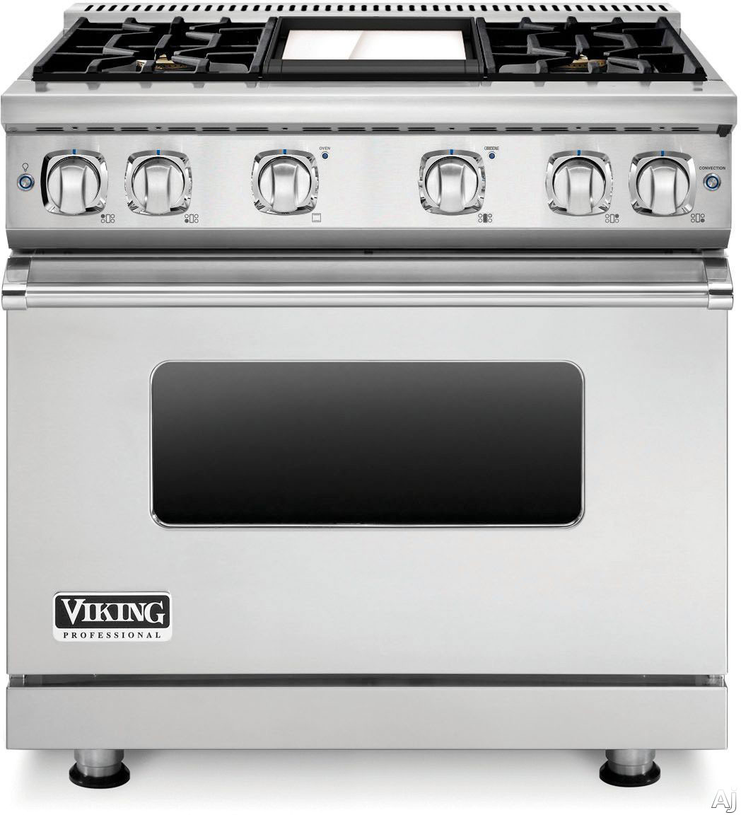 Viking Professional 7 Series VGR73614GSS 36 Inch Gas Range with Convection, ViChrome Griddle, Simmer Burners, 5.1 cu. ft. Oven, 4 Sealed Burners, Star-K Certified, Easy Clean Porcelain Interior and Dishwasher-Safe Knobs, Grates and Burner Caps: Stainless