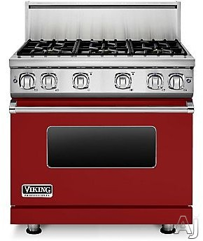 Viking Professional 7 Series VGR73616BAR 36 Inch Gas Range with 6 Sealed Burners, 5.1 cu. ft. Proflow Convection Oven, VariSimmer Setting, Gourmet Glo Infrared Broiler, GentleClose Door, TruGlide Full Extension Racks, Star-K Certified and SoftLit LED Con