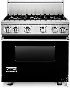 Viking Professional 7 Series VGR73616BBK 36 Inch Gas Range with 6 Sealed Burners, 5.1 cu. ft. Proflow Convection Oven, VariSimmer Setting, Gourmet Glo Infrared Broiler, GentleClose Door, TruGlide Full Extension Racks, Star-K Certified and SoftLit LED Con