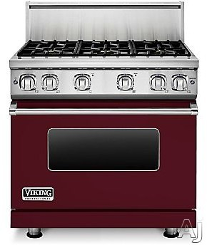 Viking Professional 7 Series VGR73616BBU 36 Inch Gas Range with 6 Sealed Burners, 5.1 cu. ft. Proflow Convection Oven, VariSimmer Setting, Gourmet Glo Infrared Broiler, GentleClose Door, TruGlide Full Extension Racks, Star-K Certified and SoftLit LED Con