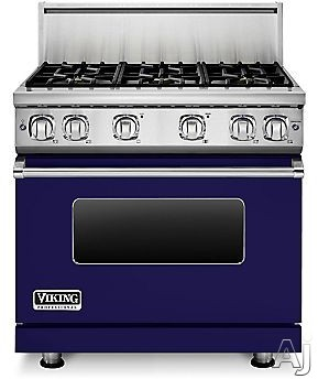 Viking Professional 7 Series VGR73616BCB 36 Inch Gas Range with 6 Sealed Burners, 5.1 cu. ft. Proflow Convection Oven, VariSimmer Setting, Gourmet Glo Infrared Broiler, GentleClose Door, TruGlide Full Extension Racks, Star-K Certified and SoftLit LED Con
