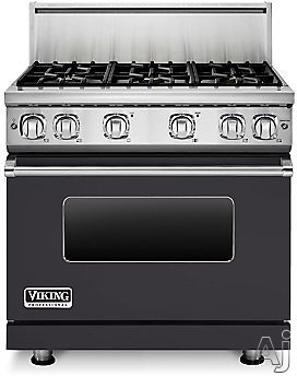 Viking Professional 7 Series VGR73616BGG 36 Inch Gas Range with 6 Sealed Burners, 5.1 cu. ft. Proflow Convection Oven, VariSimmer Setting, Gourmet Glo Infrared Broiler, GentleClose Door, TruGlide Full Extension Racks, Star-K Certified and SoftLit LED Con