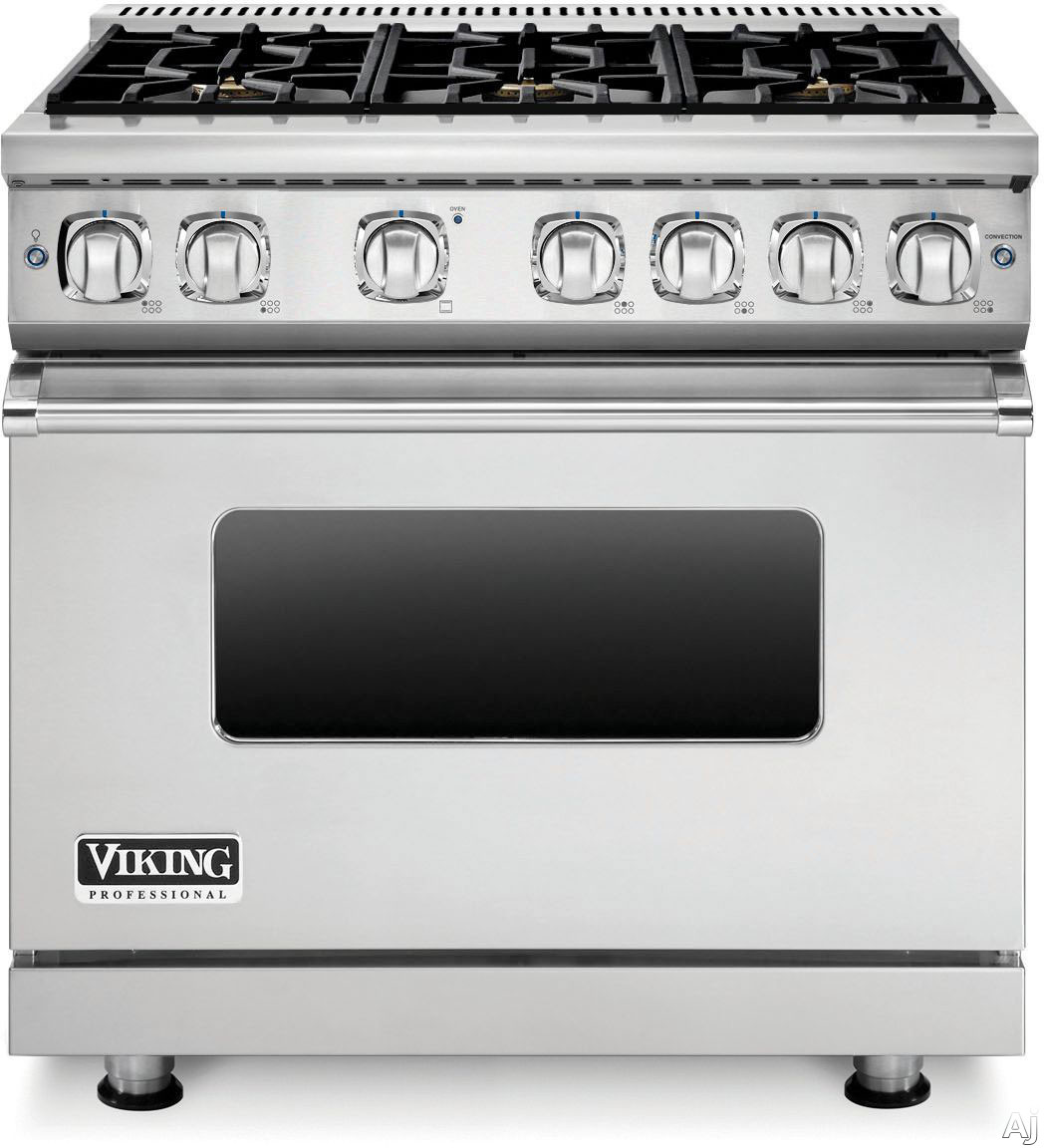 Viking Professional 7 Series VGR73616BSS 36 Inch Gas Range with 6 Sealed Burners, 5.1 cu. ft. Proflow Convection Oven, VariSimmer Setting, Gourmet Glo Infrared Broiler, GentleClose Door, TruGlide Full Extension Racks and SoftLit LED Controls: Stainless S