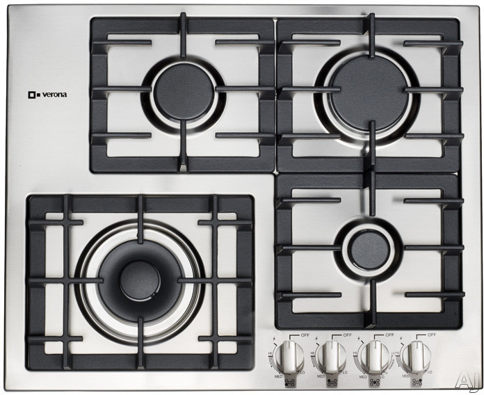 """Verona Designer Series VECTGM244SS 24"""" Gas Cooktop with 4 Sealed Burners, Dual Power Burner, Heavy Duty Cast Iron Grates, LP Conversion Kit Included and Front Controls"""