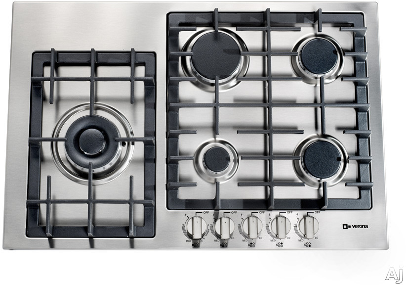 Verona Designer Series VECTGM305SS 30 Inch Gas Cooktop with 5 Sealed Burners, Front Controls, Power Burner, Continuous Cast Iron Grates, Electronic Ignition/Re-Ignition, LP Conversion Kit Included and