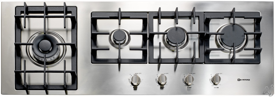 """Verona Designer Series VECTGM424SS 42"""" Gas Cooktop with 4 Sealed Burners, Front Controls, Heavy Duty Cast Iron Grates, Dual Power/Simmer Burner, Optional Accessories and LP Conversion Kit Included"""