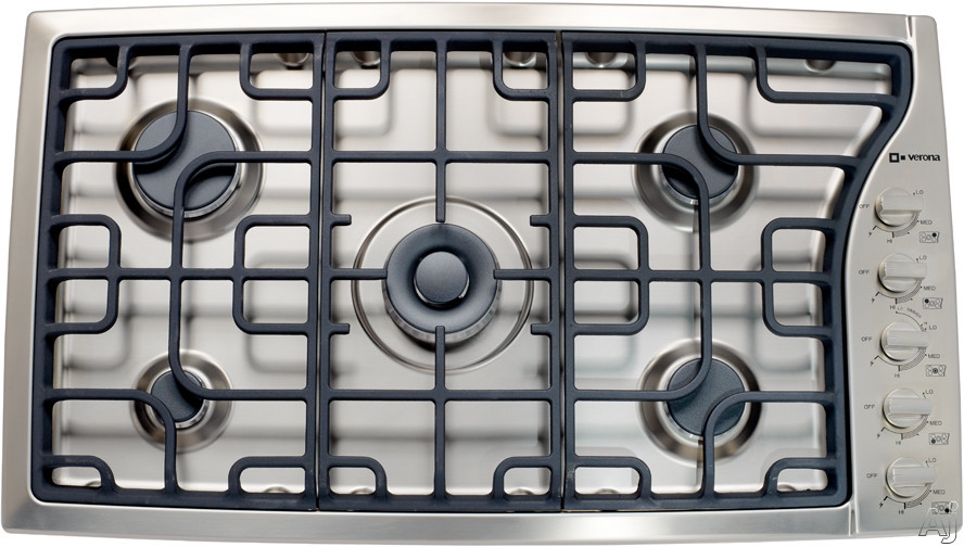 Verona VECTGMS365SS 36 Inch Gas Cooktop with 5 Sealed Burners, Side Control, 18,500 BTU Power Burner, Continuous Cast Iron Grates, Cast-Iron Burner Caps, Electronic Ignition, Re-Ignition and Stainless Steel Design