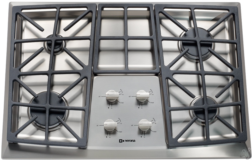 Verona VECTGV304SS 30 Inch Gas Cooktop with 4 Sealed Burners, Front Control, Cast Iron Continuous Grates, Stainless Steel Surface, Small Pot Reducer and LP Conversion Kit Included