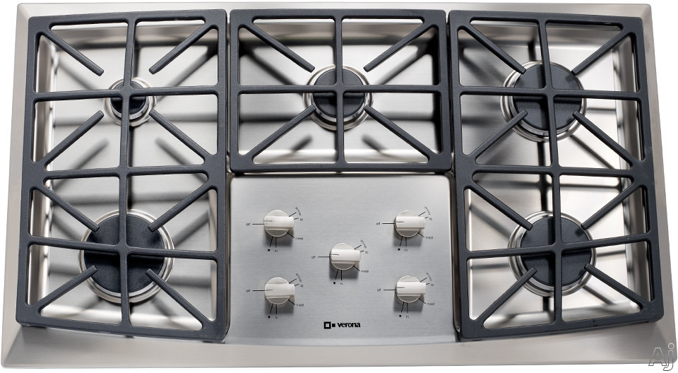 Verona VECTGV365SS 36 Inch Gas Cooktop with 5 Sealed Burners, Front Control, Cast Iron Continuous Grates, Stainless Steel Surface, Small Pot Reducer and LP Conversion Kit Included